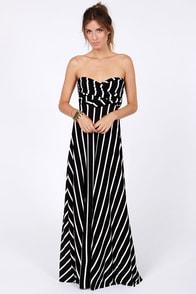 Tricks of the Trade Black Striped Maxi Dress