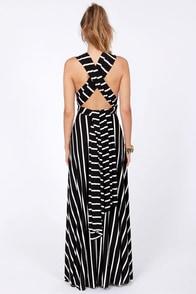 Tricks of the Trade Black Striped Maxi Dress at Lulus.com!