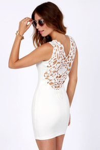 One Rad Girl Mariana Ivory Lace Dress at Lulus.com!