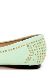 Mila 20 Lime Studded Pointed Flats at Lulus.com!