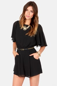 Sly Fox Black Romper at Lulus.com!