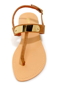 Zuri 1 Natural Gold Plated Thong Sandals at Lulus.com!