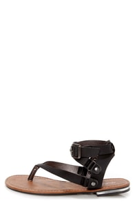 Becki 2 Black Belted Gladiator Thong Sandals at Lulus.com!