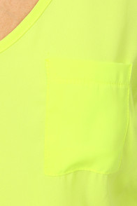 Chip Off the Color Block Highlighter Yellow and Beige Dress at Lulus.com!