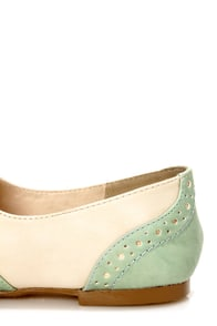 Restricted Sweet Pea Ivory and Mint Saddle Shoe Flats at Lulus.com!