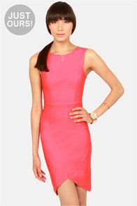 LULUS Exclusive Curve-age Under Fire Pink Midi Dress
