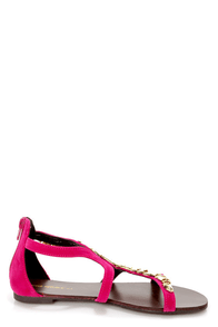Shoe Republic LA Order Fuchsia and Gold Plated Flat Sandals at Lulus.com!
