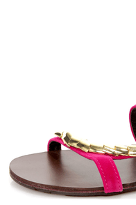 Shoe Republic LA Order Fuchsia and Gold Plated Flat Sandals at Lulus.com!