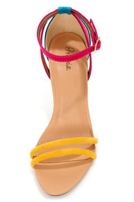 Promise Delma Yellow Multi Color Block High Heel Sandals at Lulus.com!