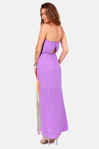 Diva-ine Intervention Orange and Purple Strapless Dress at Lulus.com!