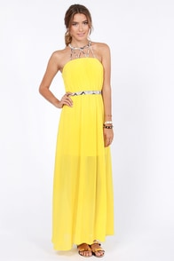 Snake Me Up Before You Go-Go Yellow Maxi Dress