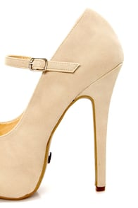 Promise Italo Nude Peep Toe Mary Jane Platform Pumps at Lulus.com!