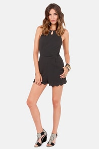 Scallops and Downs Cutout Black Romper at Lulus.com!