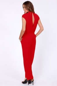 Shake a Leg Red Jumpsuit at Lulus.com!