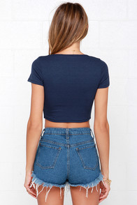 Jersey Devil Navy Blue Crop Tee at Lulus.com!