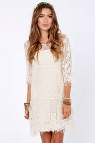 Live for Today Cream Crochet Dress