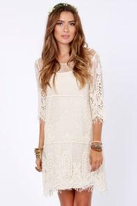 Live for Today Cream Crochet Dress