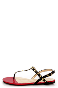 Promise Top Black Studded T-Strap Thong Sandals