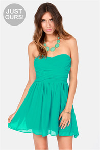 LULUS Exclusive Sash Flow Strapless Teal Dress