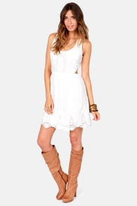 Aryn K Path Through the Park Ivory Lace Dress at Lulus.com!