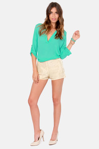 Aryn K Luster-y Day Beaded Beige Shorts at Lulus.com!