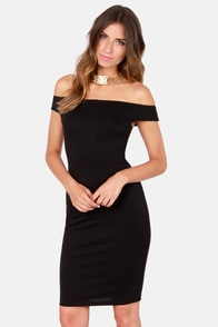 Off the Charts Black Off-the-Shoulder Midi Dress at Lulus.com!
