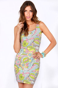 Lost Koi Posey Body-con Print Dress at Lulus.com!