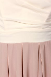 TFNC Elida Strapless Cream and Taupe Dress at Lulus.com!
