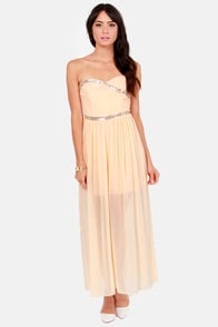 TFNC Damia Beaded Peach Maxi Dress at Lulus.com!