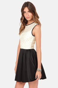 TFNC Libby Cream and Black Beaded Dress at Lulus.com!