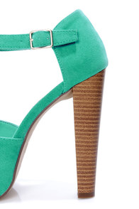 Brina 01 Mint Teal T-Strap Peep Toe Platform Heels at Lulus.com!