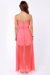Hit List Strapless Coral Maxi Dress at Lulus.com!