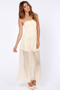 Hit List Strapless Cream Maxi Dress at Lulus.com!