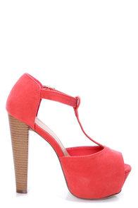 Brina 01 Rose Coral T-Strap Peep Toe Platform Heels at Lulus.com!