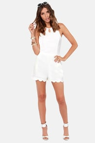 Scallops and Downs Cutout Ivory Romper at Lulus.com!