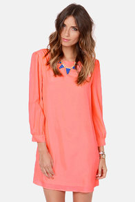 Sorbet-by Doll Neon Coral Shift Dress at Lulus.com!