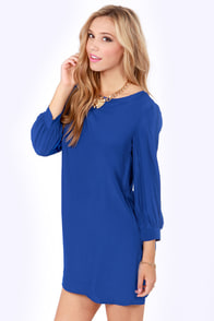Sorbet-by Doll Royal Blue Shift Dress at Lulus.com!