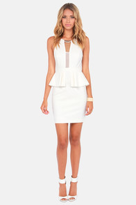 Put a Bling On It Ivory Cutout Peplum Dress at Lulus.com!