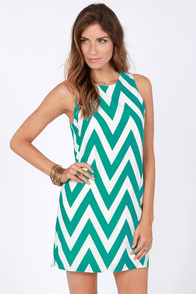 Chev Republic Teal Chevron Print Dress at Lulus.com!