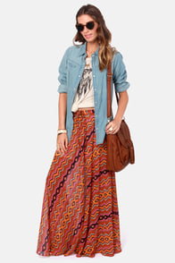 Prairie Sunset Orange Print Maxi Skirt at Lulus.com!