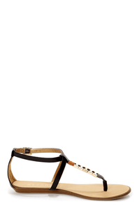 Report Loxx Black and Gold Beaded T-Strap Thong Sandals at Lulus.com!