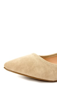 Mixx Shuz Regan Sand Nubuck Ankle Strap Pointed Flats at Lulus.com!