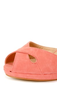 Mixx Shuz Donna Coral Peep Toe Wedge Sandals at Lulus.com!