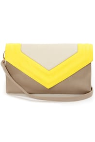 On My Side Taupe and Yellow Purse at Lulus.com!
