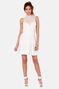Daily Showdown Lace Ivory Dress at Lulus.com!
