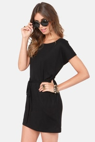 Cinch Hitter Belted Black Dress at Lulus.com!