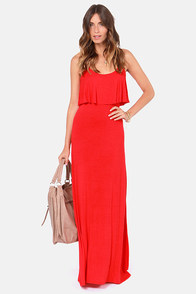 Moved to Tiers Red Maxi Dress