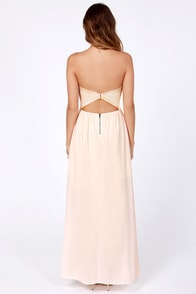 Column What You Like Strapless Peach Maxi Dress at Lulus.com!