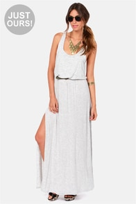 LULUS Exclusive Most Wanted Light Grey Maxi Dress