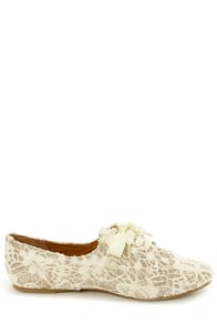 Not Rated Sugar Kisses Ivory Lace and Glitter Oxford Flats at Lulus.com!
